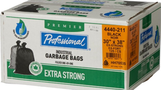 """Home Professional - 125 Pack 30"""" x 38"""" 1.3 Mil Extra Strong Black"""