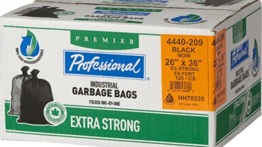 """Home Professional - 125 Pack 26"""" x 36"""" 1.3 Mil Extra Strong Black"""