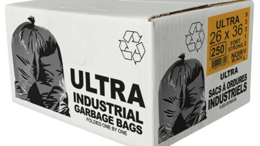 """ECO II  250 Pack 26"""" x 36"""" Regular Black Garbage Bags"""