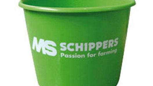 MS Bucket plastic+handle, green 12 ltr