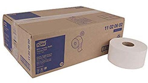 Tork Advanced Soft Mini Jumbo Bath Tissue Roll, Perforated, 2-Ply, 12 per case