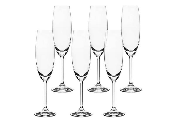 Cjto 6 Taças Cristal c/ Titânio p/Champanhe Roberta 220ml Bohemia