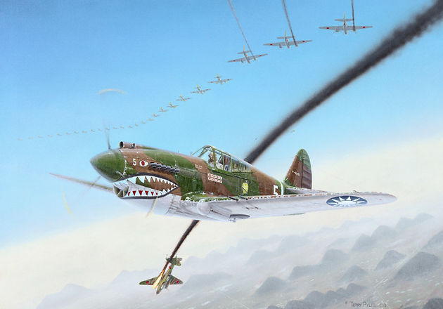A Flying Tiger P-40 painting by Terry Pyles
