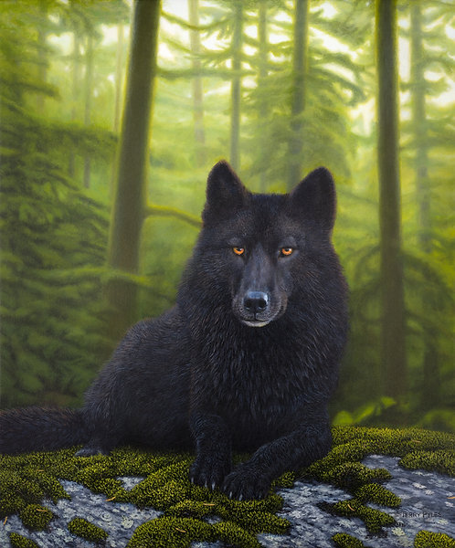 Black Wolf (small canvas giclee)