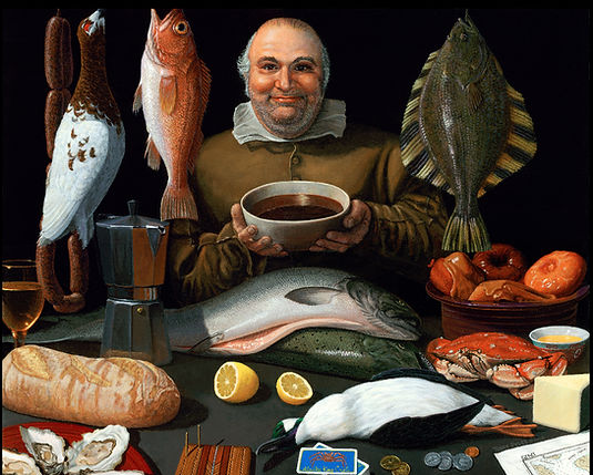 A Renaissance-style painting by Alaskan artist Terry Pyles of wild Alaska salmon and other fish and fowl indigenous to Alaska.