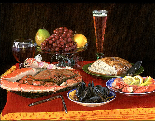 A Renaissance-style painting by Terry Pyles of Alaskan King Crab, Dungeness Crab, spot prawns, and clams.