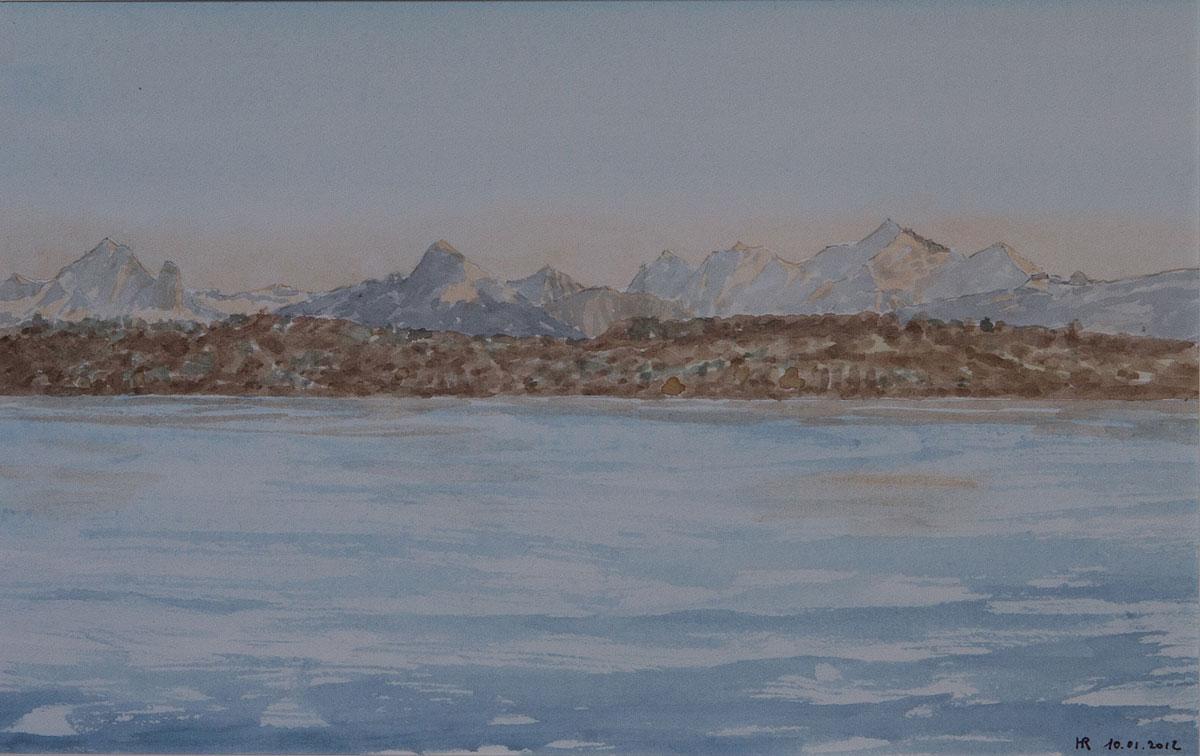 Lac Leman et les Alpes