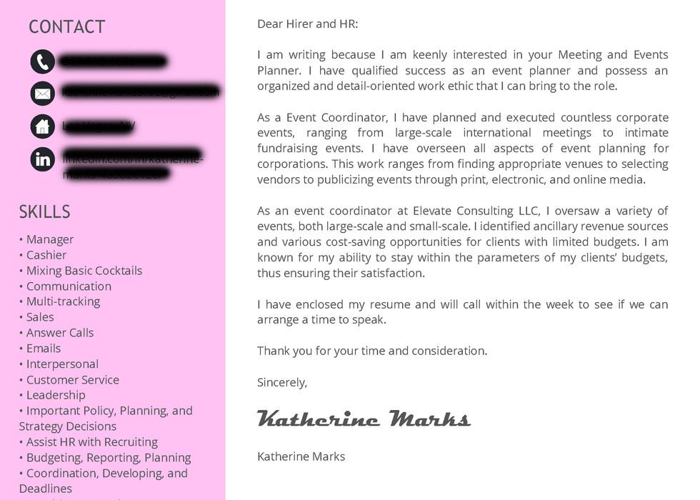 KATHERINE MARKS - Events - Cover Letter.
