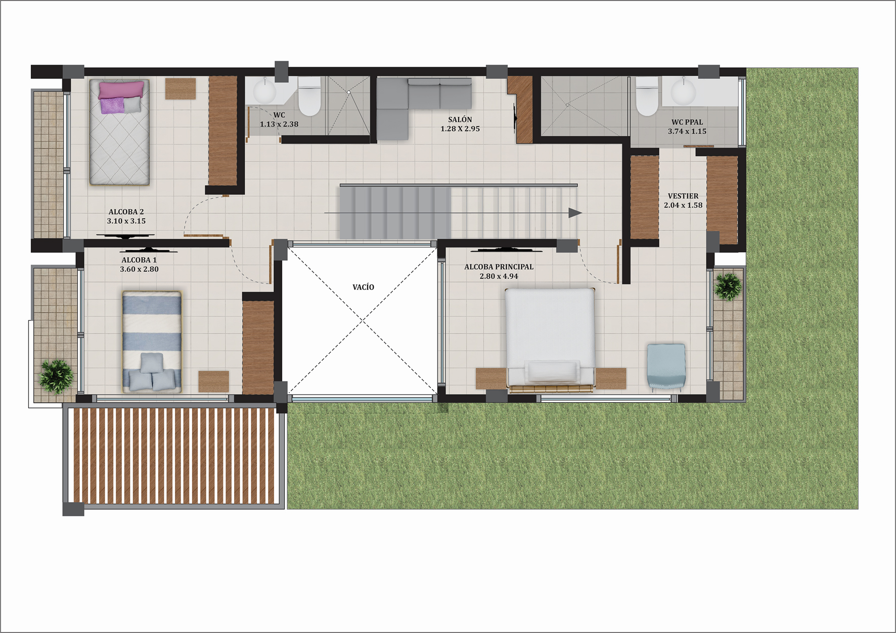 Casa Premium tipo A, segundo nivel