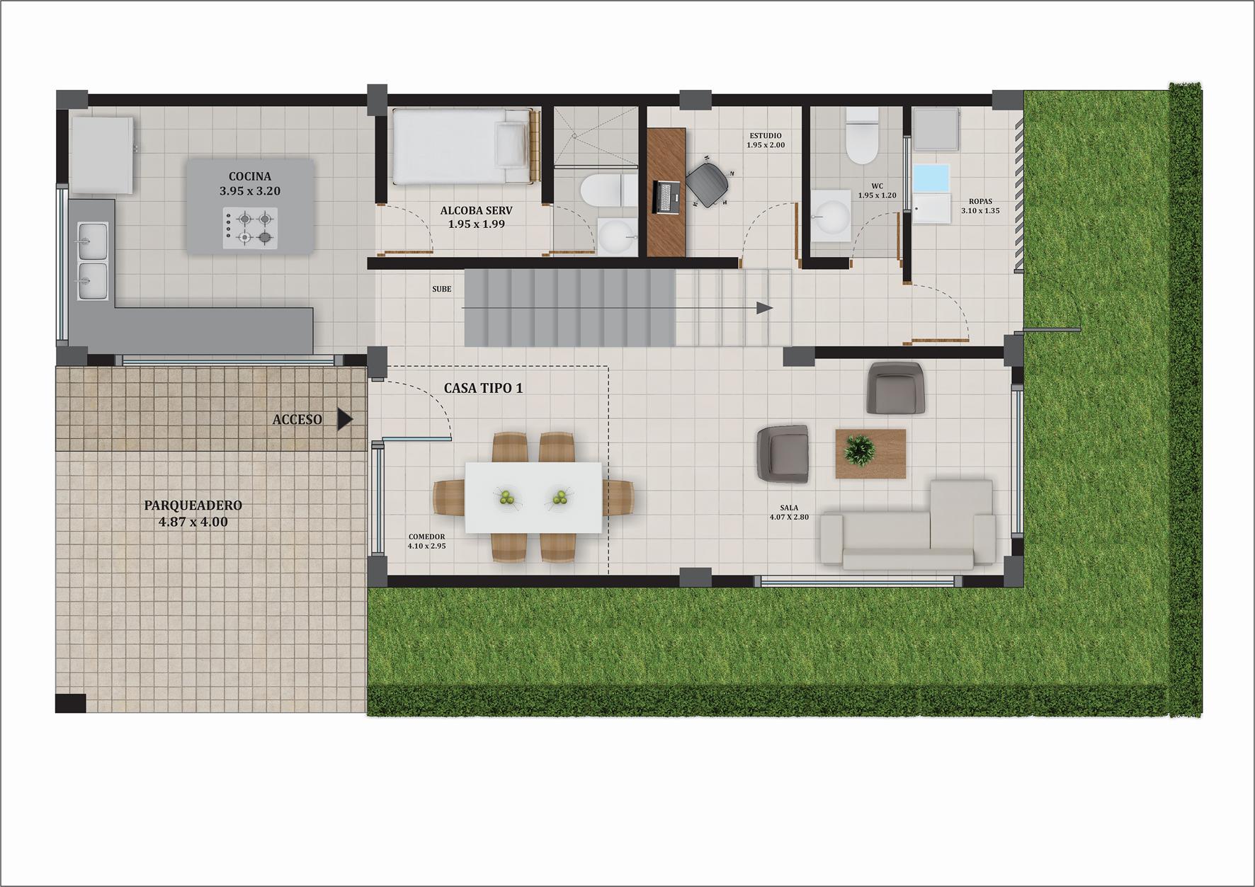 Casa Premium tipo A, Primer nivel