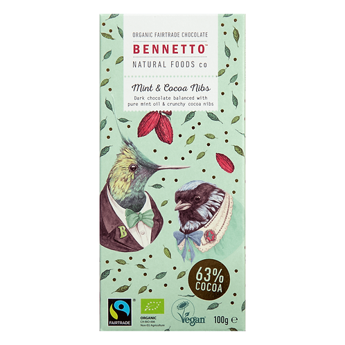 Mint and Cocoa Nibs 100g Chocolate Bar