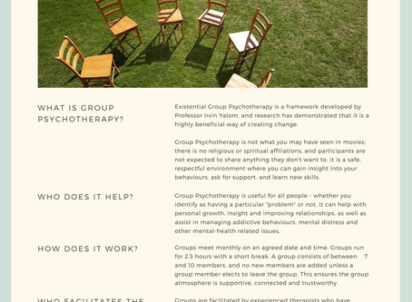 Places now available for group psychotherapy