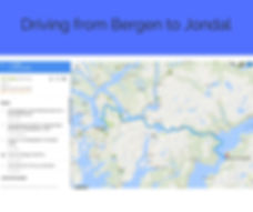 Map of the road from Bergen to Jondal