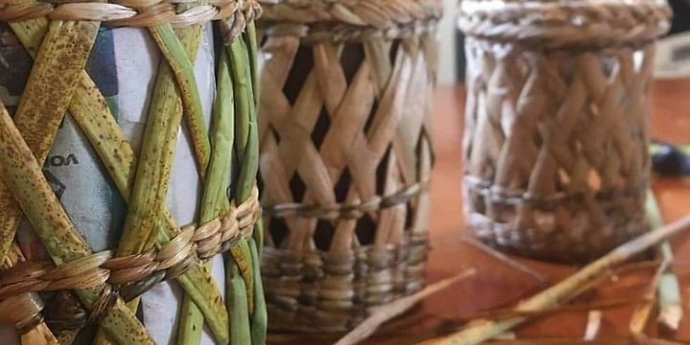 Weaving with Soft materials - Cattail Jar cover