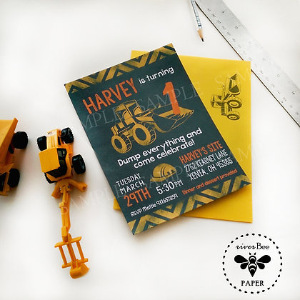 Chalkboard Construction Birthday Invitations
