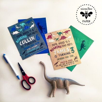 Dinosaur Silhouette Birthday Invitations