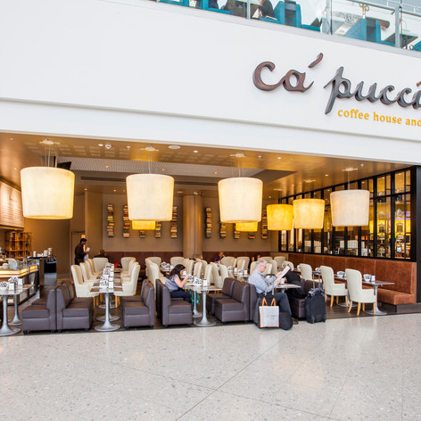The restaurant is designed so customers can easily access the seating area, even with bulky cabin luggage