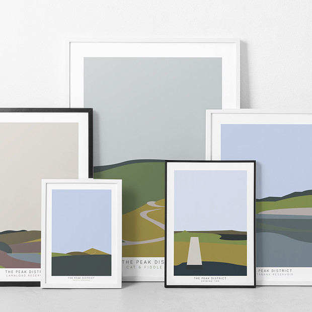 From our Etsy collection - these high quality digital prints shows the landmark, Shining Tor in the Peak District, designed as a set of five beautiful prints