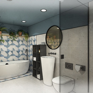 Sophisticated en-suite design with feature blue tiles to bathroom one
