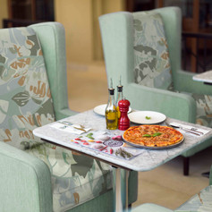 Our restaurant design included ideal spots for couples or friends to dine