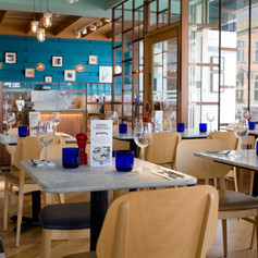 The bold colour palette helps to attract diners to the restaurant
