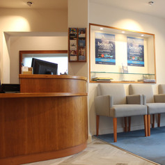 A welcoming reception and waiting area were part our retail design
