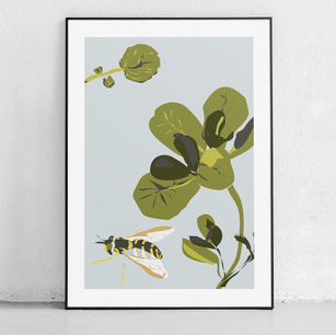 One of our Etsy prints - this high quality digital print shows a Bee with Watercress and is inspired by the Midhants Railway - Watercress Line