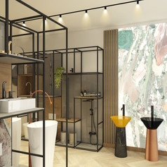 This visual of the interior design for the shop entrance showcases an LED panel screen