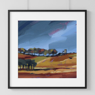 This high quality digital print is available on our Etsy page. Taken from an original oil painting and shows a view of Bradgate Park in Leicestershire. Dark, stormy skies feature above this typical autumnal view