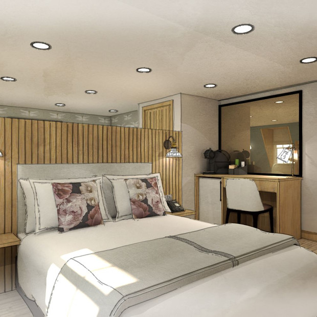 Hotel Design of bedroom two, featuring a large lounge area to the rear