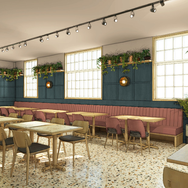 This re-design of a traditional English pub includes leather upholstered banquette seating and beautiful painted wall panelling