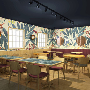 This pub visualisation features beautiful eye-catching wallpaper – adding lots of character