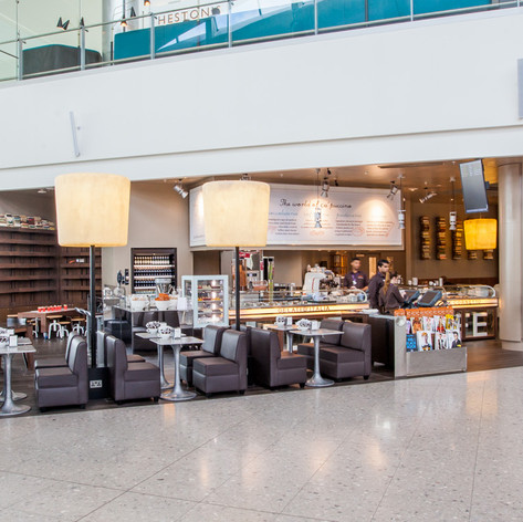 The completed coffee house design creates a space for travellers to rest and enjoy a little luxury