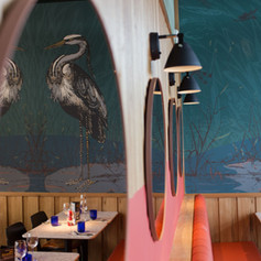 Bespoke Heron wallpaper that was designed especially for the restaurant by Creed