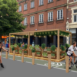 We've reimagined our local high street and on considering the way people will use public spaces, we designed some potential solutions in the form of parklets, these could provide pop up seating areas for locals to drink and eat