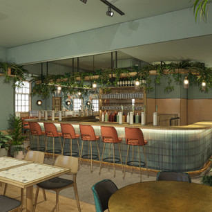 Lots of planting, feature pendant lighting and comfy bar stools make this bar really warm and inviting