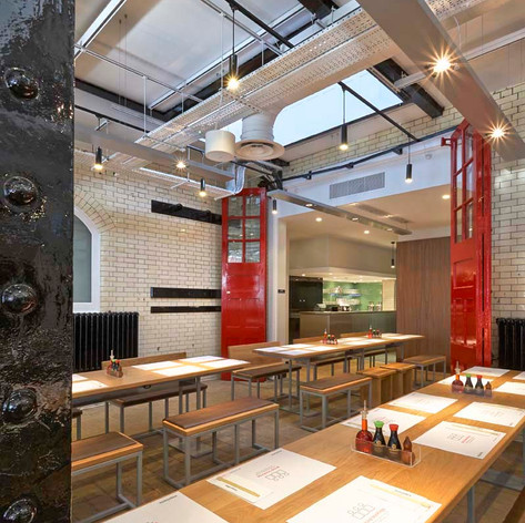 Reinvigorated features of the original fire station ensure this restaurant design is unique