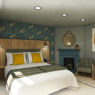 Hotel Design of bedroom one, retaining and enhancing the original fireplace