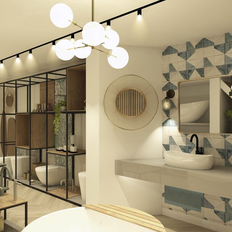 This visual shows bespoke units and bathroom sets within the showroom