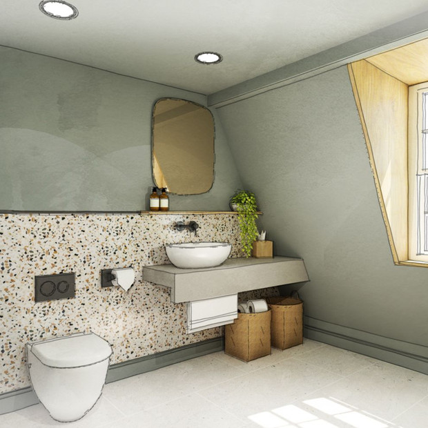 A calming colour palette with terrazzo tiles and planting to bathroom two