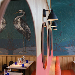 Our bespoke wallpaper adds ambience to this restaurant and celebrates its location by the Lake