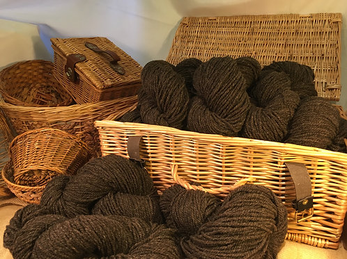Dark brown aran weight mill spun yarn 100g