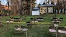 16mm outdoor film screening of James Benning's Ten Skies