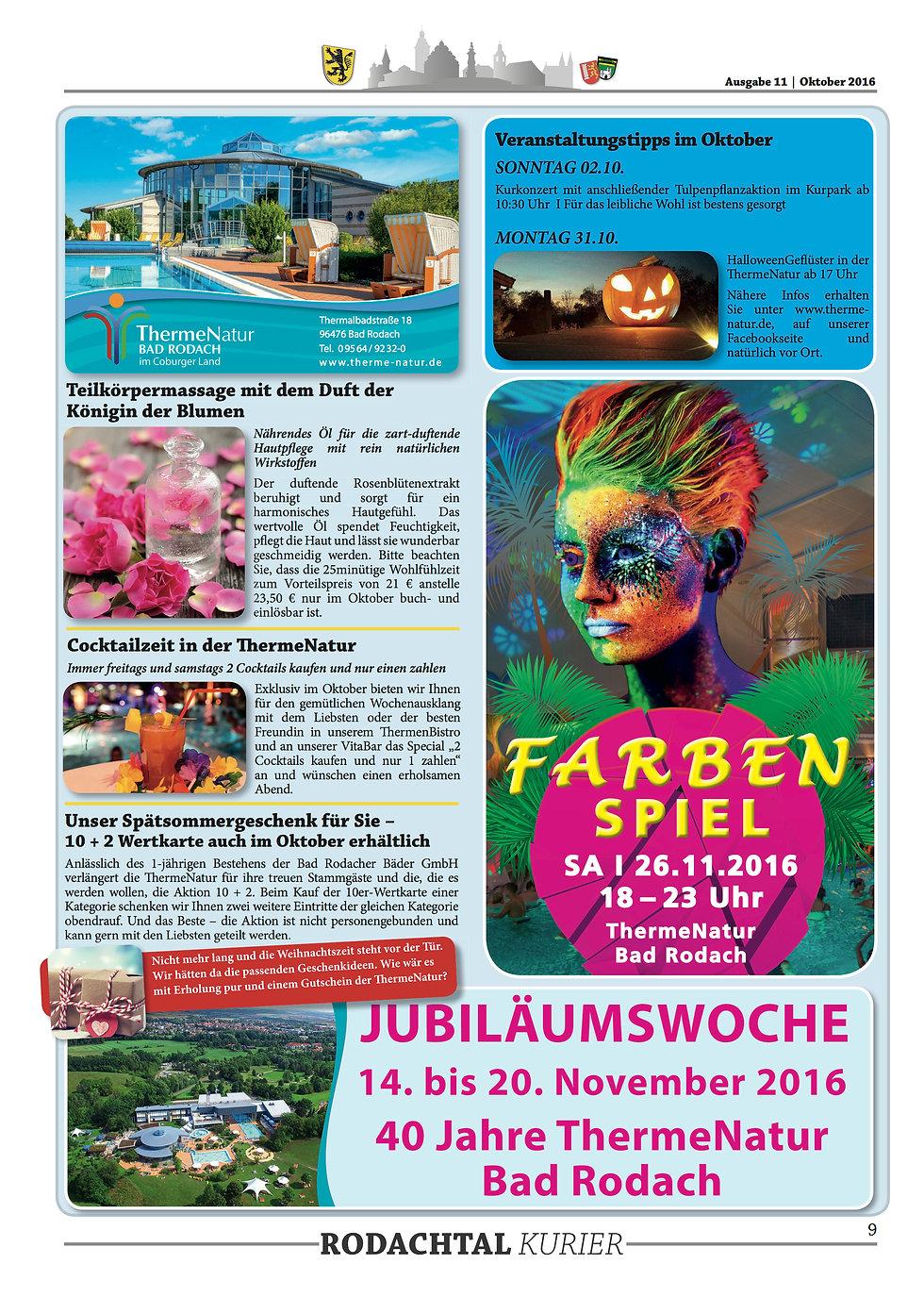 Therme Natur Bad Rodach Aktionen im Oktober