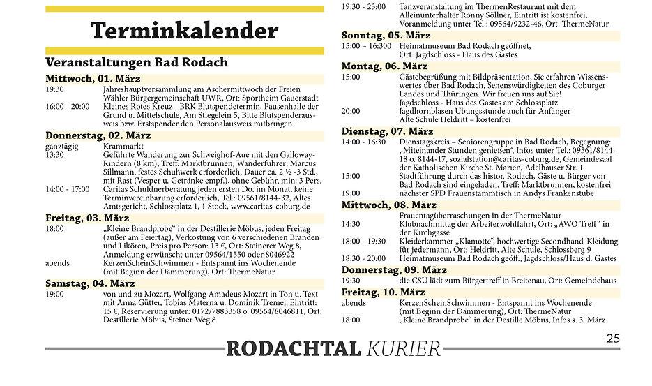 Termine Bad Rodach März 2017