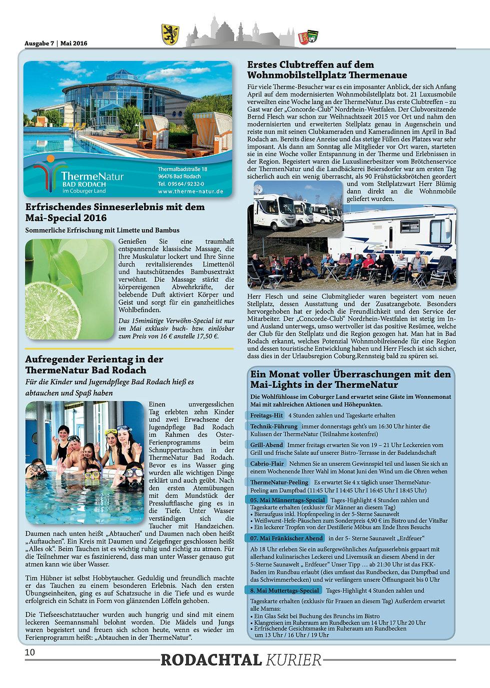 Therme Natur Bad Rodach Aktionen im Mai