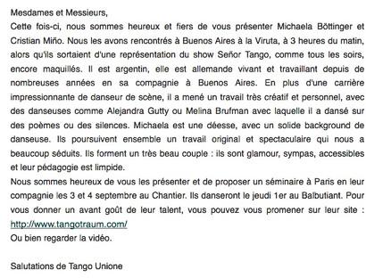 Tango Unione, Paris