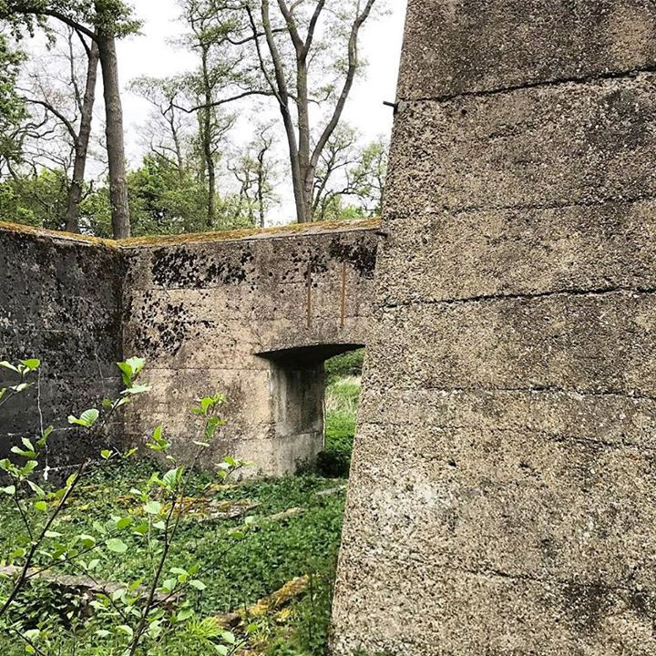 These monumental early concrete walls were made to contain explosions
