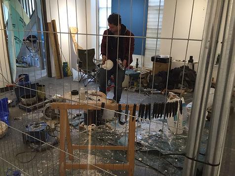 Artist Andrea Crociani, working in the gallery during his artist residency, Lockbund Gallery.