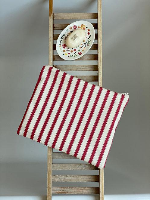 Red & Cream ticking stripe makeup bag (waterproof lined)